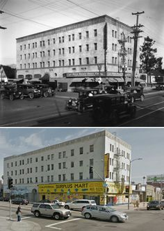 Vine and Santa Monica Hollywood Calif  1927 - Present day  I love making ''Now and Then'' pics they always make just wonder went on during so long t these places then ... I think wow  WTF happened ... :(