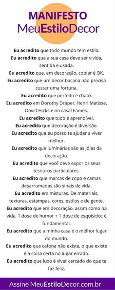 Manifesto MeuEstiloDecor • Decoração pra Vida Real