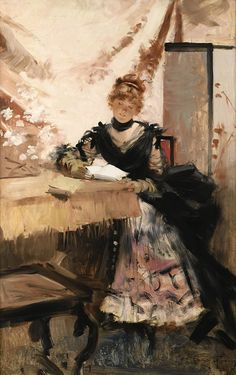 François Flameng (French, 1856-1923) – La Lettre (Oil on panel) – – Beautiful places, beautiful people, beautiful clothes—Francois Flameng loved to paint them all. Born in an art studio in Paris in 1856, Flameng may have known from an early age that he was destined to be an artist. Paris was the center of the art world and his father was a celebrated engraver who had once wished to be a painter. - (Németh György)