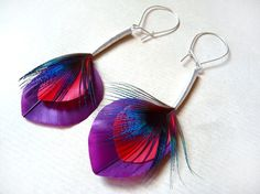 Imitation Peacock Feather Earrings in Satin by Stilltreejewellery, €52.00