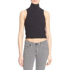 rag & bone/JEAN 'Mod' Turtleneck Crop Top ($125) ❤ liked on Polyvore featuring tops, black, turtleneck crop top, print top, turtle neck crop top, pattern tops and cropped turtleneck