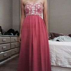 Dusty pink crystal chiffon dress A maxi dress perfect for any event. The color is a dusty pink and the chiffon bottom part is spacious with a lot of walking room. Never worn and doesn't have a tag. The crystals shine beautifully in the light. perfect condition! Not SHERRI HILL! Sherri Hill Dresses