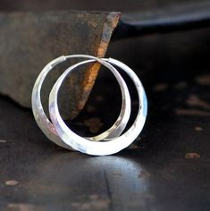 1 1/4 inch sterling silver hoop earrings  planishing by 2TrickPony