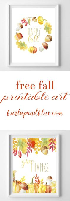 free fall printable art! two designs in watercolor oranges, yellows and reds. Perfect for your fall home decor or mantle! (Favorite Fonts For Silhouette)
