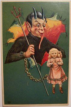 Vintage Christmas Krampus Postcard by riptheskull