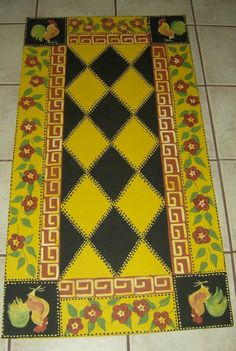 Hand-painted floor cloth.  Would love to try this...