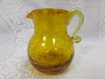 Vintage Hand Blown Amber Crackle Glass Pitcher   Amber Yellow Miniature Creamer or Vase - Etagere Antiques, Vintage, Collectibles