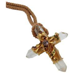 Christian Lacroix Vintage Rare Goossens Rock Crystal Cross Pendant Necklace | From a unique collection of vintage pendant necklaces at https://www.1stdibs.com/jewelry/necklaces/pendant-necklaces/