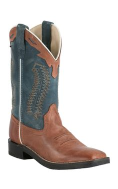 Old West Youth Burnwood Brown w/ Vintage Denim Blue Top Square Toe Western Boots | Cavender's
