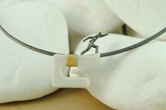"""""""The Runner"""" #Necklace - Handmade, Porcelain, Black Rhodium Plated Sterling Silver, 18K Yellow Gold"""