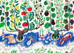 """Italian Dinner"" textile by Josef Frank on Linen"