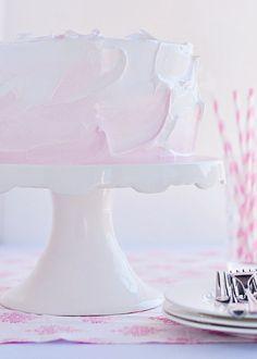 Cherry Delight Cake with Whipped Vanilla-Cherry Filling via Sweetapolita