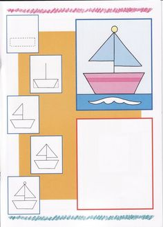 How to draw boat Oil Pastel Drawings, Easy Drawings, Drawing Lessons For Kids, Art Lessons, Drawing Notepad, Planner Doodles, Ship Drawing, Directed Drawing, Baby Painting
