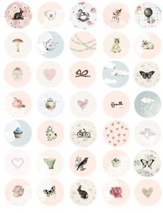 Girly 1 inch button circles digital collage sheet by tabithaemma Instagram Highlight Icons, Etsy, Vintage Ephemera, Collage Sheet, Design Crafts, Bridal Shower, Tags, Marie Antoinette, Dream Decor