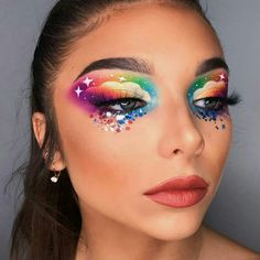 Eye Makeup Designs, Eye Makeup Art, Colorful Eye Makeup, Fairy Makeup, Mermaid Makeup, Gothic Makeup, Fantasy Makeup, Carnival Makeup, Rainbow Makeup