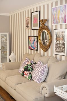I would LOVE this stripe in our living room.Jessie Epley Short Home Tour // living room // striped walls // gallery wall // beige sofa // pink purple Striped Accent Walls, D House, Love Your Home, Living Room Inspiration, Inspired Homes, Home Living Room, Decoration, House Tours, Interior Design