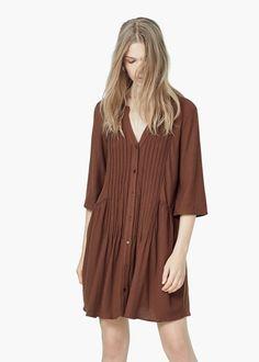 Vestido textura pliegues -  Mujer | MANGO
