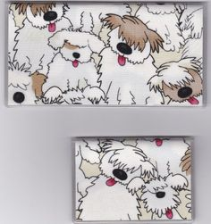 """Big Fluffy Shaggy Dog Checkbook Cover Set by Tickled Pink Boutique. $9.50. Fun and functional for every day use without paying a designer price for a designer name!  The sturdy clear PLASTIC 12 gauge lightweight VINYL COVER encases a fabric bonded design. Measuring 6 1/4"""" x 3 1/4"""",  the checkbook cover fits all standard bank checkbooks and banking registers.  All checkbook covers come with a register flap and a duplicate check flap just like the bank.    The drivers license ho..."""