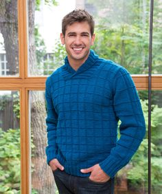 A combination of updated styling and interesting texture are combined for this comfortable man's knit pullover. The shawl collar is a nice fashion detail that makes wearing a shirt optional. Knitting Designs, Knitting Patterns Free, Knit Patterns, Free Knitting, Free Pattern, Boys Sweaters, Men Sweater, Cardigans, Knit Or Crochet