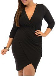 Sexy Plunging Neck 3/4 Sleeve Asymmetrical Plus Size Women's Dress