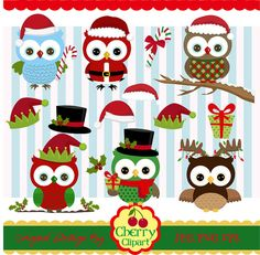 Christmas Owls Clip Art 02,Christmas Clipart,Owls Digital Clip Art-Personal and Commercial Use