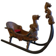 Late 19th Century Carved Bavarian Sled Model | From a unique collection of antique and modern sculptures and carvings at http://www.1stdibs.com/furniture/folk-art/sculptures-carvings/