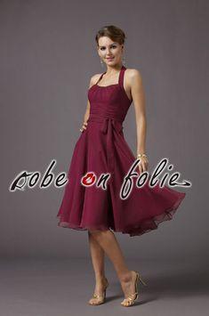 Magnifique robe de cérémonie bordeaux en mousseline légère et jupe évasé