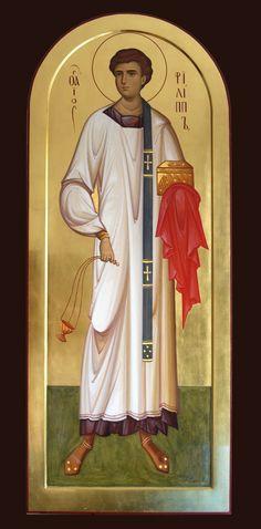 Philip the Archdeacon by Anton & Ekaterina Daineko Bible Pictures, Religious Pictures, Religious Icons, Byzantine Icons, Byzantine Art, Greek Icons, Church Icon, Paint Icon, Russian Icons