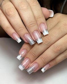 French Acrylic Nails, Acrylic Nails Coffin Short, Summer Acrylic Nails, Best Acrylic Nails, Grey Nail Designs, Classy Nail Designs, Classy Nails, Stylish Nails, Polygel Nails