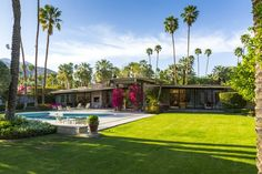 The lush, manicured setting for the midcentury-modern home.