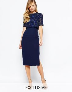 Frock and Frill Embellished Overlay Pencil Dress With Open Back UK 6/EU 34/US 2