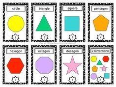 These shapes are 2 dimensional shapes. That means that the shapes are flat.