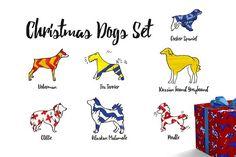 Christmas Dogs Set by Lemoonday on @creativemarket