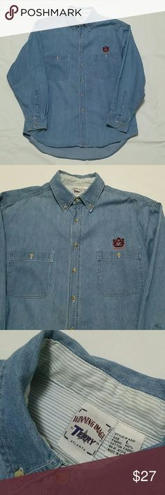 Vintage Auburn University Denim Button Down Shirt -100% Cotton - Sport Oxford Shirt -Button-down point collar. Applied buttoned placket. -Long sleeves with buttoned barrel cuffs. AU signature embroidered logo accents the left chest. -Split back yoke with a box pleat ensures a comfortable fit and a greater range of motion. -Machine washable. Imported. Winning Image Shirts Casual Button Down Shirts