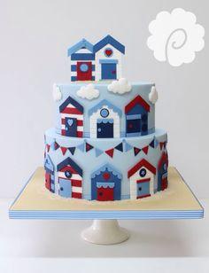 Nautical colour beach hut themed birthday cake #nautical #beach
