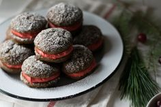 Gingerbread Whoopie Pies with Cranberry Curd Buttercream — All Purpose Flour Child Molasses Cake, Woopie Pies, Winter Desserts, Little Cakes, Christmas Cookies, Gingerbread, Tart, Purpose, Sandwiches