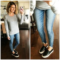 Lightweight Grey Sweater + Distressed Cropped Jeggings + Black Sneakers // Casual Spring Outfit // How to Wear Released Hem Jeggings #shopthelook #sscollective #howtostylecroppedjeggings #lightweightsweater #releasedhemjeggings #sliponsneakers #springfashion