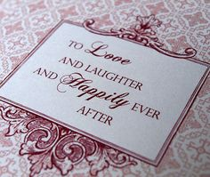To Love and Laughter and Happily Ever After