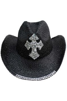 Luxury Divas Straw Cowboy Hat With Sequin Cross, Women's, Black Black Cowgirl, Black Cowboys, Cowgirl Hats, Western Hats, Western Style, Wide Brimmed Hats, Fascinator Hats, Fascinators, Wide-brim Hat