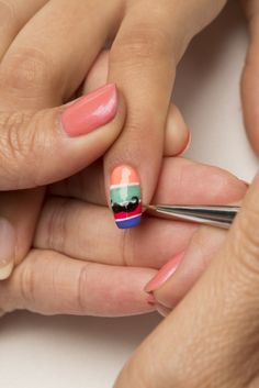 This striped, colorful nail art tutorial is perfect for Cinco de Mayo (and all Summer long)! Learn how to do it with these easy steps.