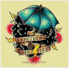 cloud and Umbrella Old School Tattoo design - I want Tattoo