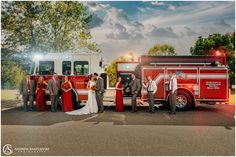 Fire truck on a wedding day - firefighter groom and a nurse for a bride.   Andrew Samplawski Photography Township Fire Eau Claire, WI