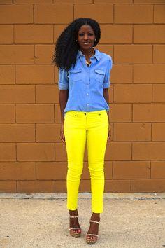 Folake Kuye Huntoon via StylePantry | Polka Dot Button Down + High Waist Vintage Jeans
