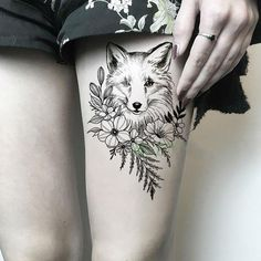 Waterproof Temporary Tattoo Sticker Wolf Flower Rose fake tatto Cool flash tatoo tatouage temporaire body art for girl women men Flower Thigh Tattoos, Small Flower Tattoos, Large Tattoos, Flower Tattoo Designs, Small Fox Tattoo, Sister Tattoos, Girl Tattoos, Tattoos For Guys, Fox Tattoos