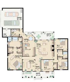Ranch Plan: 2393 square feet, 4 bedrooms, 2 bathrooms, 046-00232