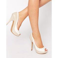 "Shoes by ALDO Smooth matte leather-look upper Open toe Platform sole High point heel Wipe light marks 100% Polyurethane upper Heel height: 13cm/5. 3""""."