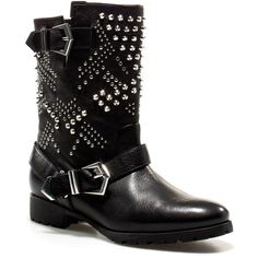Zara Studded Biker Ankle Boot (€73) ❤ liked on Polyvore featuring shoes, boots, ankle booties, sapatos, botas, chaussures, leather boots, leather ankle booties, zara booties and short boots