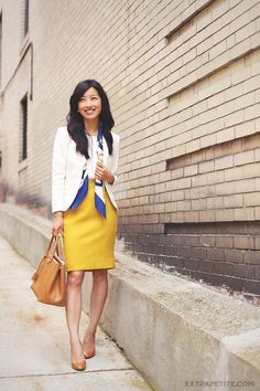 What to wear with the mustard yellow H&M pencil skirt.