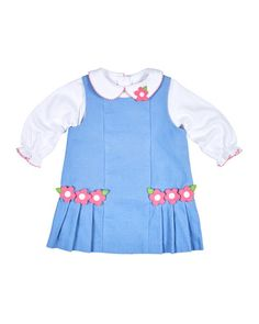 Z1RG9 Florence Eiseman Floral Pleated Corduroy Jumper w/ Collared Blouse, Blue, Size 6-24 Months