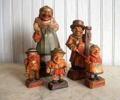 Vintage German Folk Art Carvings of Villagers by VintageHomeShop, $29.00